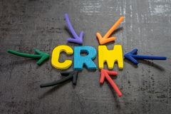 CRM, customer relationship management concept, multi color arrows pointing to the word SSL at the center of black cement. Chalkboard wall, strategies use to royalty free stock photos