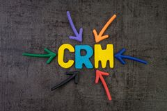 CRM, customer relationship management concept, multi color arrows pointing to the word SSL at the center of black cement. Chalkboard wall, strategies use to stock image