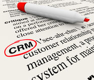 CRM Customer Relationship Management Dictionary Definition. The word, phrase or acronym CRM which means Customer Relationship Management defined in a dictionary Stock Image