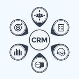 CRM, customer relationship management infographics. Template, eps 10 file, easy to edit stock illustration