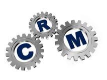 CRM en engranajes del gris de plata ilustración del vector