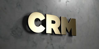 Crm - Gold sign mounted on glossy marble wall  - 3D rendered royalty free stock illustration. This image can be used for an online website banner ad or a print Royalty Free Stock Images