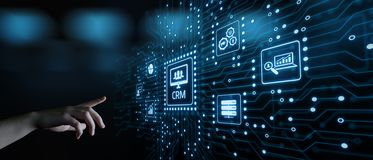 CRM-het Commerciële van het Klantrelatiebeheer Concept van Internet Techology stock foto