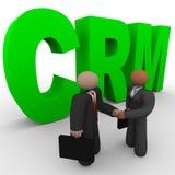 CRM - Hombres de negocios del apretón de manos Imágenes de archivo libres de regalías