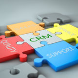 CRM jigsaw. Render of a jigsaw with business text written on it Royalty Free Stock Photography