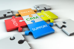 CRM jigsaw. Render of a jigsaw with business text written on it royalty free illustration
