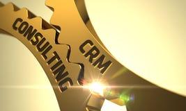 CRM konsulterande begrepp Guld- metalliska kugghjul 3d Arkivbilder