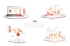 CRM - people communicating and helping each other via laptops and internet vector concept set. Hand drawn sketch isolated illustration stock illustration