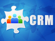 CRM and puzzle piece with person signs, flat design Stock Image