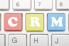 Crm-Schlüssel auf Tastatur Stockfotos
