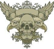 Crâne avec les ailes et l'aigle double-dirigé, main-DR Photos stock
