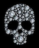 Crâne de diamant sur le fond noir Photos libres de droits