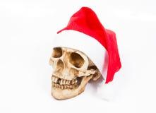 Crâne drôle dans le chapeau Santa Claus sur le fond blanc Photographie stock libre de droits