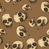 Crâne sans couture de dessin de main de modèle Image libre de droits