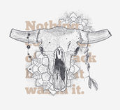 Cráneo animal de Dotwork con atributos de estilo modernos de la calle Plantilla de la impresión del Grunge Arte del vector Imagen de archivo libre de regalías