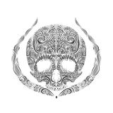 Cráneo blanco y negro del tatuaje Fotografía de archivo