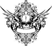 Cráneo con las alas Imagenes de archivo