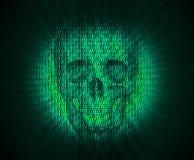Cráneo del virus en código digital Imágenes de archivo libres de regalías
