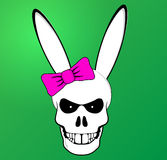 Cráneo divertido del conejito de pascua con el arco rosado Imagenes de archivo