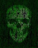 Cráneo hecho de código binario Pirata informático, símbolo cibernético de la guerra Foto de archivo