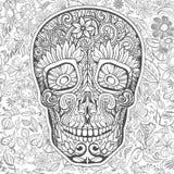 Cráneo humano hecho de flores Imagen de archivo libre de regalías