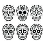Cráneo mexicano del azúcar, iconos de Dia de los Muertos fijados Fotos de archivo