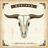 Cráneo occidental de Bull del vintage Imágenes de archivo libres de regalías