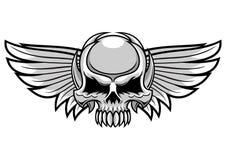 Cráneo y alas grises Imagenes de archivo