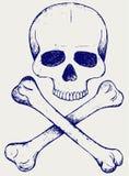 Cráneo y bandera pirata Imagen de archivo libre de regalías
