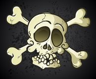 Cráneo y bandera pirata Jolly Roger Cartoon Character Imagenes de archivo