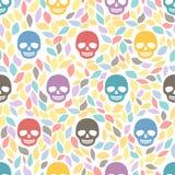 Cráneos divertidos del azúcar. Antecedentes inconsútiles. Illus dibujado mano del vector Fotos de archivo libres de regalías