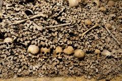Cráneos y huesos de las catacumbas de París Foto de archivo libre de regalías