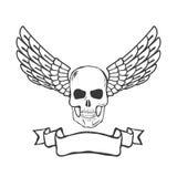 Crânio com as asas isoladas no vetor branco do fundo Imagens de Stock Royalty Free
