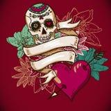 Crânio, corações e ilustração do vetor das flores Imagens de Stock Royalty Free