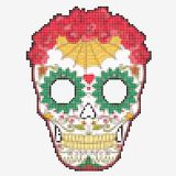 Crânio do açúcar Dia do crânio colorido inoperante Fotografia de Stock
