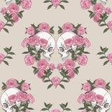 Crânio e flores Teste padrão sem emenda Imagens de Stock