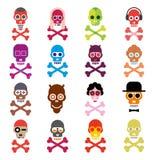 Crânio - grupo de ícones do vetor Imagem de Stock
