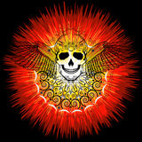 Crânio humano com asas e o Sun no estilo da arte abstrato Imagem de Stock Royalty Free