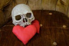 Crânio humano com coração vermelho Imagens de Stock Royalty Free
