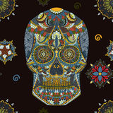 Crânio humano tirado mão na arte mexicana Crânio do ser humano do símbolo do perigo Crânio humano para a tatuagem Crânio humano d Fotos de Stock Royalty Free