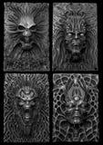 Crânios e caras em preto e branco Imagens de Stock