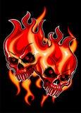 Crânios flamejantes vermelhos Foto de Stock Royalty Free