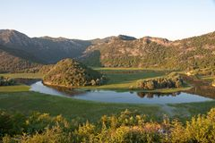 Crnojevica River into Lake Skadar National Park, Montenegro Stock Images