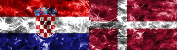 Croácia contra a bandeira do fumo de Dinamarca, quartos de final, campeonato do mundo 2018 do futebol, Moscou, Rússia Ilustração do Vetor