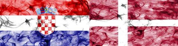 Croácia contra a bandeira do fumo de Dinamarca, quartos de final, campeonato do mundo 2018 do futebol, Moscou, Rússia ilustração stock