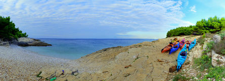 Croácia de Seakayaking Imagens de Stock