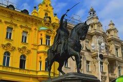 Croácia de Trg Bana Jelacica do quadrado de Zagreb Imagens de Stock