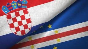Croácia e pano de matéria têxtil das bandeiras de Cabo Verde dois do cabo, textura da tela ilustração do vetor