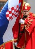 Croácia/protetor de honra Battalion/portador padrão orgulhoso Imagens de Stock