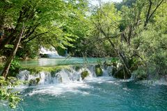 Croácia Serene Natural Waterfalls dos lagos Plitvice Imagens de Stock